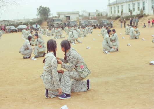 Military drill of students in Goyang High School