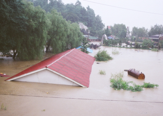 Flood damage in Hangang River and levee breach (1990-4)