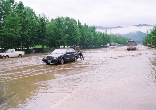 Flood damage in Hangang River and levee breach (1990-2)